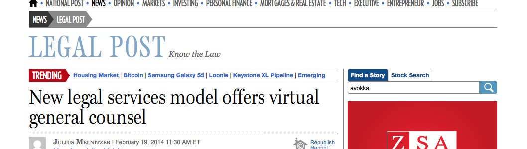 New legal services model offers virtual general counsel | Financial Post