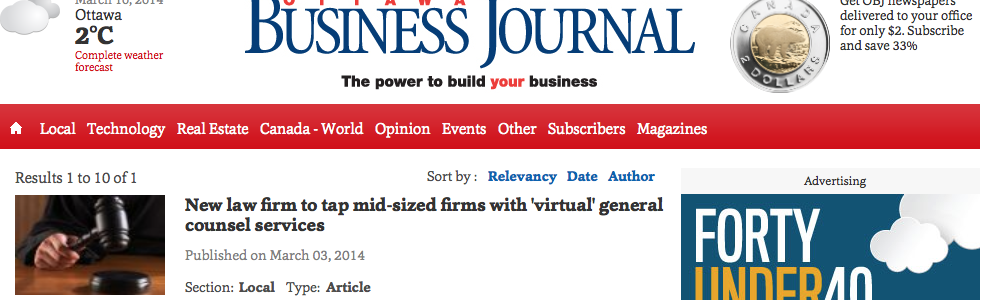 New law firm to tap mid-sized firms with 'virtual' general counsel services | Ottawa Business Journal