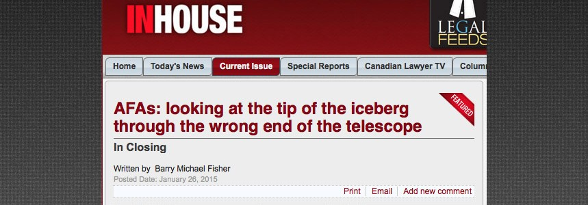 AFAs: looking at the tip of the iceberg through the wrong end of the telescope