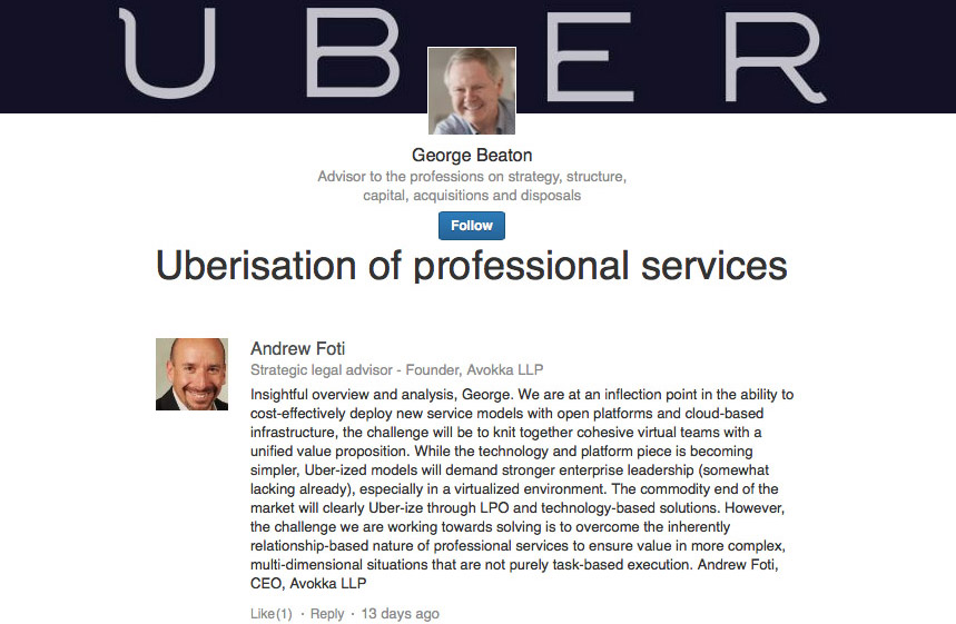 Uberisation of professional services